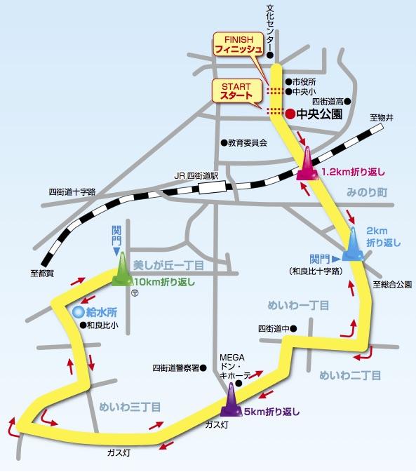 四街道ガス灯ロードレースのコース