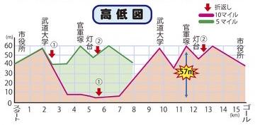 勝浦鳴海ロードレースの高低差