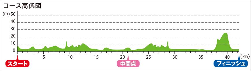 神戸マラソン2017の高低差
